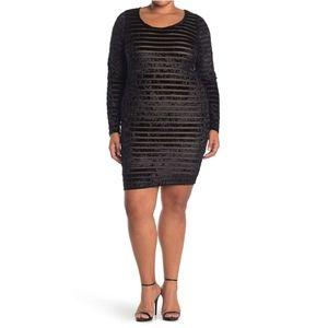 Curvy Sense Velvet Stripe Burnout Dress 1X